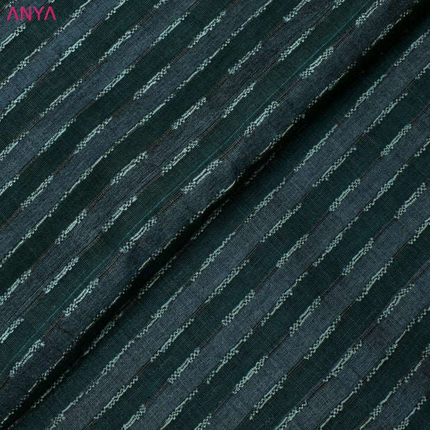 Teal Green & Grey Tussar Silk Fabric