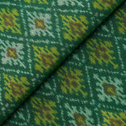 Bottle Green Diamond Design Ikkat Silk Fabric