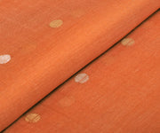 Orange Tussar Fabric With Weave Buttas