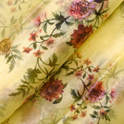 Lime Floral Printed Organza Fabric