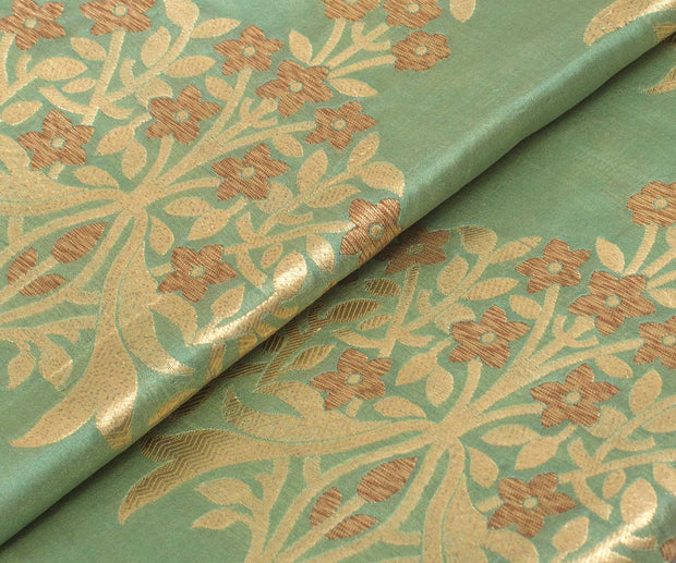 Sage Green Banarasi Silk Fabric With Floral Design