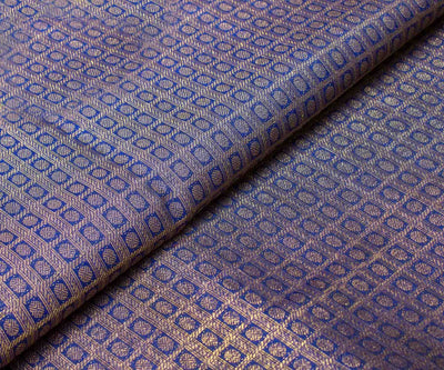 Royal Blue Kanchi Silk Fabric With Zari Checks And Buttas