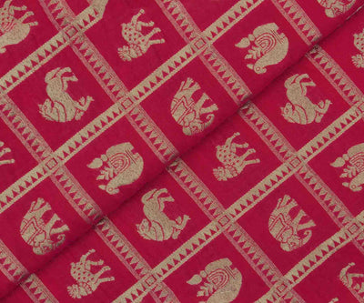 Dark Pink Banarasi Silk Fabric with Animal Butta