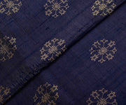 Double Shaded Blue Tussar Fabric With Jacquard And Zari Butta Highlights