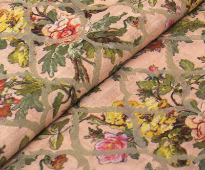 Dark Peach Tussar Fabric with Floral Design with Zari Highligts