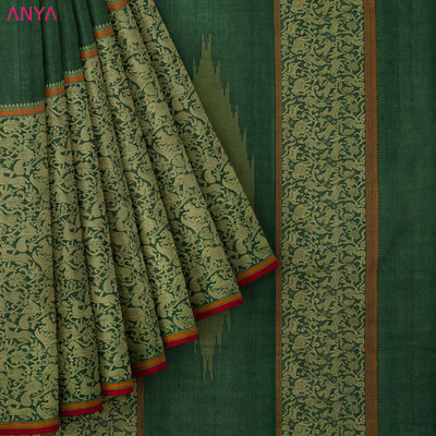 Forest Green Half And Half Kanchi Cotton Saree