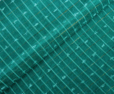 Turquoise Green Tussar Silk Fabric with Stripes