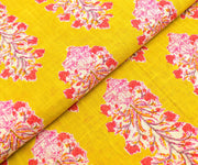 Yellow green floral printed cotton fabric