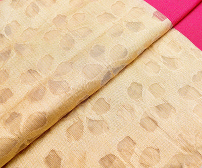 Half White Floral Tissue Tussar Fabric With Double Border
