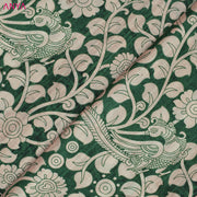 Green And White Floral Printed Tussar Fabric