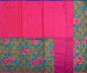 Rose Silk And Pastel Brown/Grey Dual Shaded Printed Banarasi , Half And Half Saree With Blouse