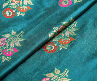 Teal Blue Banarasi Silk Fabric With Multi  Floral Zari Butta Highlights