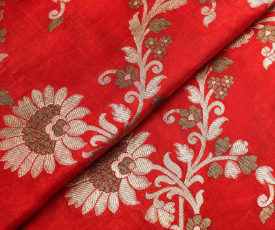 Red Banarasi Silk Fabric With Floral Zari Design Highlights