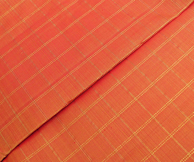 Orange Kanchi Silk Fabric With Checked Zari Highlights