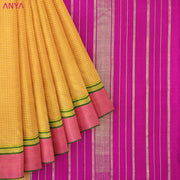 Mustard Checked Kanchi Silk Saree