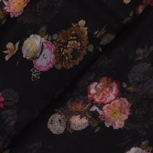 Black Flroal Organza Fabric With Silver Zari Border