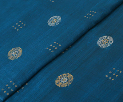Spruce Blue Tussar Fabric with Chakra Motif