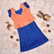 Peach Top With Blue Skirt