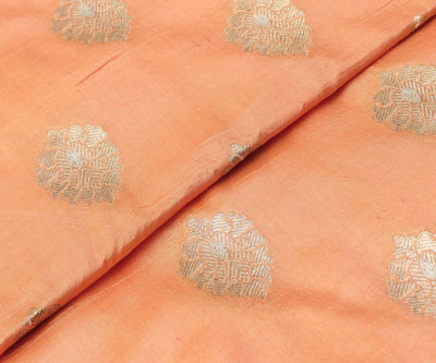 Peach Puff Banarasi Silk Fabric With Floral Zari Highlights