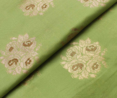 Yellow Green Banarasi Silk Fabric With Floral Antique Zari Highlights