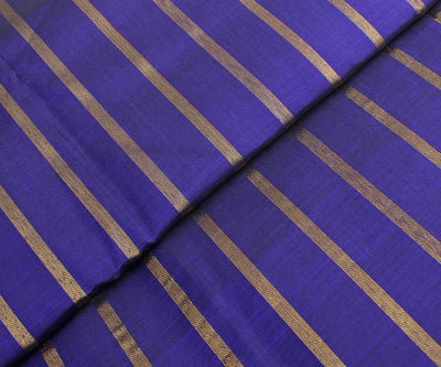 Ink Blue Kanchi Silk Fabric With Striped Zari Highlights