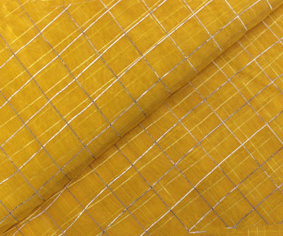 Yellow Color Fancy Organza Fabric with Silver Checks