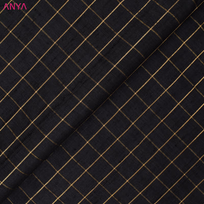 Black Checked Tussar Silk Fabric