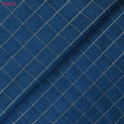 Blue Checked Tussar Silk Fabric
