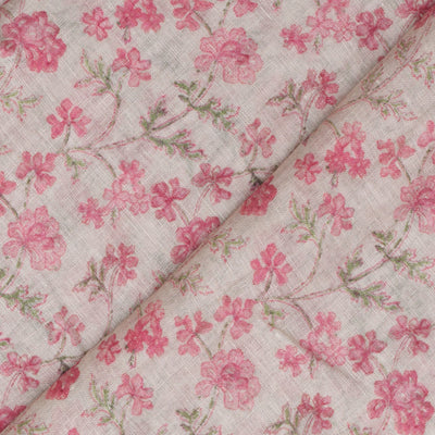 Half White Linen Fabric With Rose Floral Printed Design And Silver Zari Border