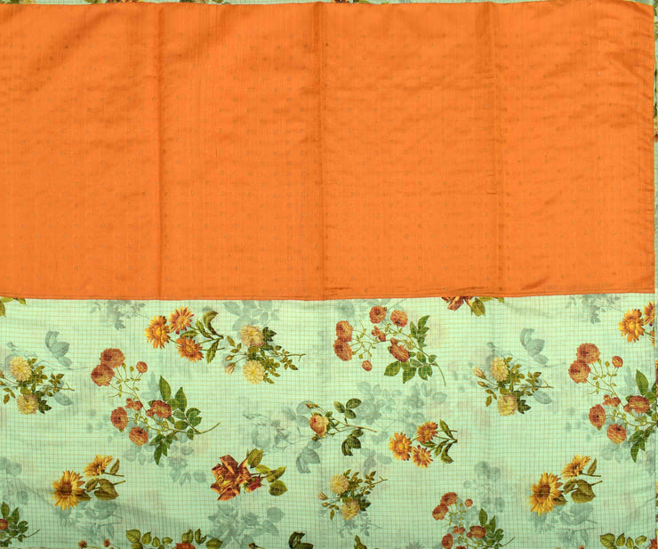 Orange Bailu Silk And Sea Form Green Floral Printed Tussar, Half And Half Saree With Blouse