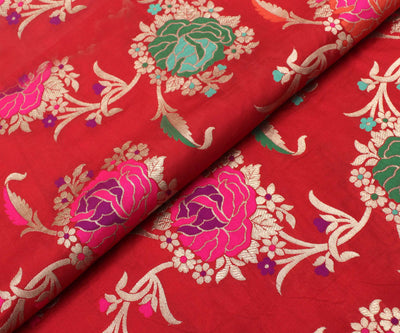 Scarlet Red Banarasi Silk Fabric With Multi Floral Zari Highlights