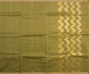 Olive Green Linen Tussar  Saree With Gold Zigzag  Zari Pallu and Floral  Zari Butta Blouse