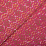 Coral Pink Ikkat Silk Fabric