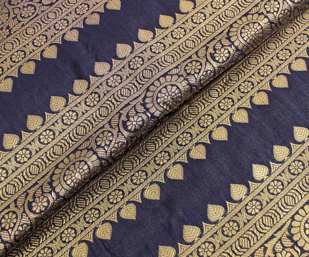 Indigo blue Floral Border Fabric With Highlighted Zari
