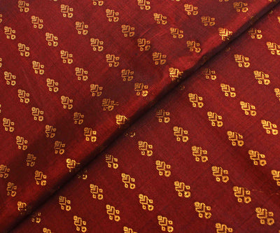 Maroon Kanchi Silk Fabric With Zari Highlights
