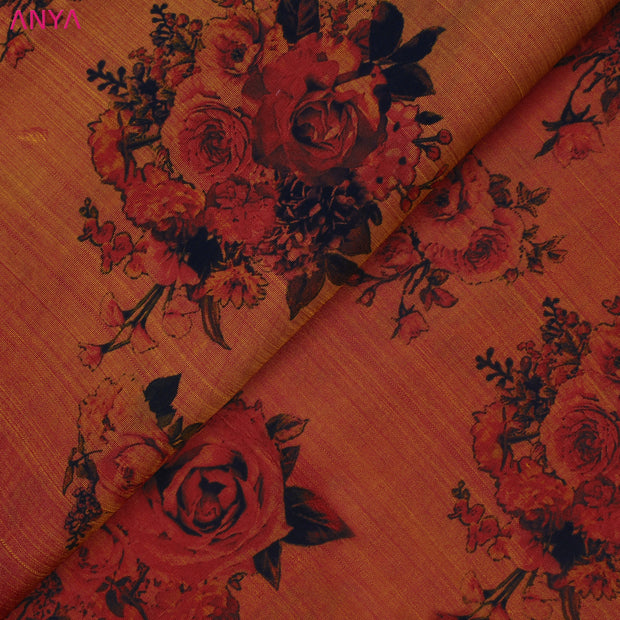Dual Tone Red And Orange Printed kanchi Silk Fabric