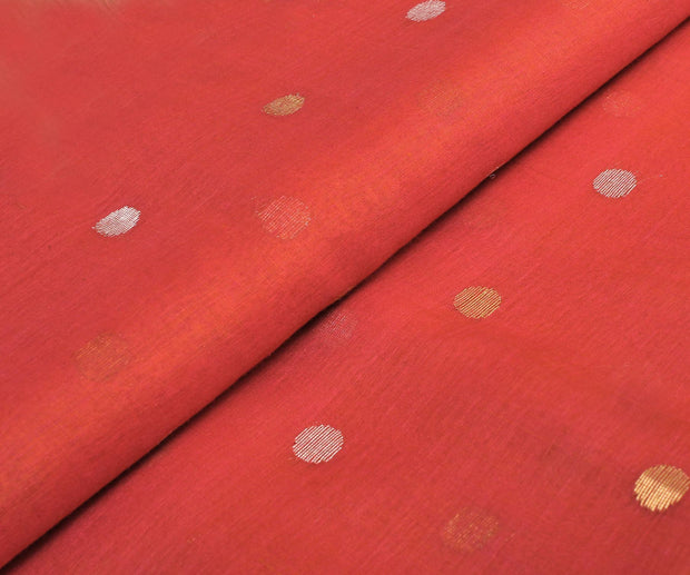 Vermillon Red Tussar Fabric With Weave Buttas