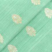 Mint Green Silver And Gold Zari Floral Raw Silk Fabric