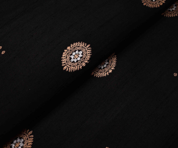 Black Tussar Fabric With Gold And Silver Zari Butta Highlights