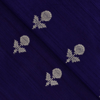 Indigo Blue  Silver Zari Floral Raw Silk Fabric