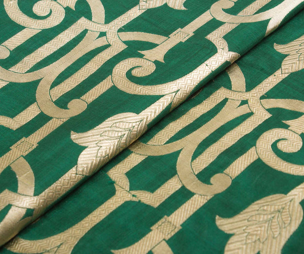 Dark Green Banarasi Silk Fabric With Zari Designs