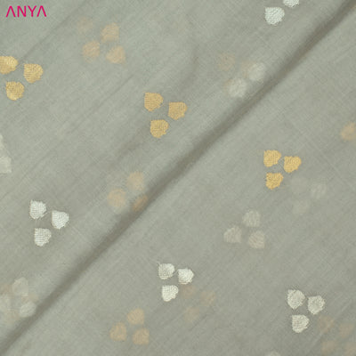 Grey Tussar Fabric With Butta Design
