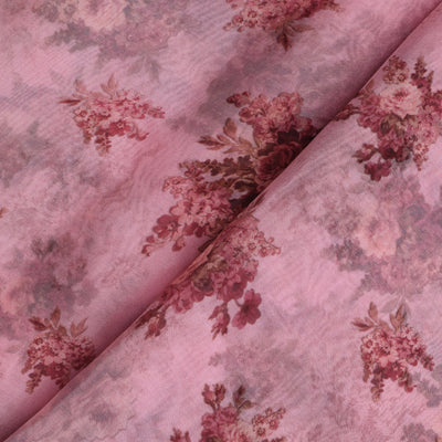 Pink Floral Printed Organza Fabric