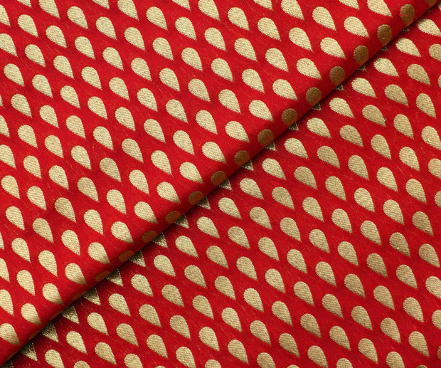 Red Semi Banarasi Silk Fabric With Thilak Butta Highlights