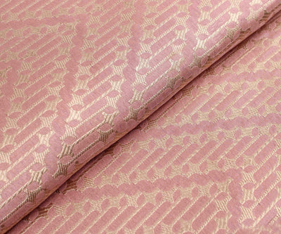 Bubblegum Pink Banarasi Silk Fabric With Zig Zag Pattern Zari Highlights