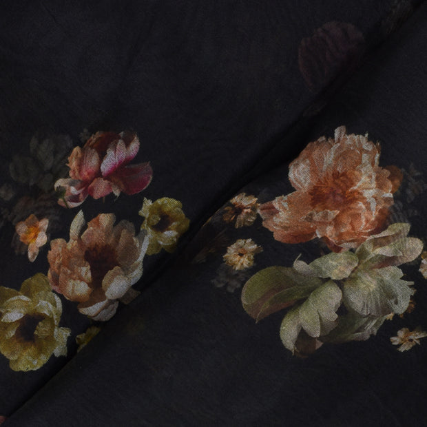 Black Floral Organza Fabric With Floral Silver Zari Border