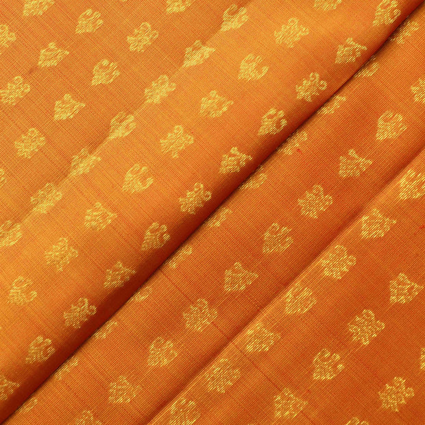 Orange Dual Tone Kaamal Button Kanchi Silk Fabric
