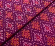 Magenta Diagonal Ikkath Silk Fabric