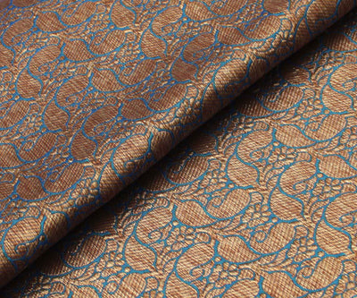 Aegean Blue Banarasi Silk Fabric With Paisley Buttas