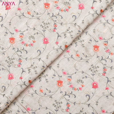 Pastel Grey Embroidered Tussar Raw Silk Fabric